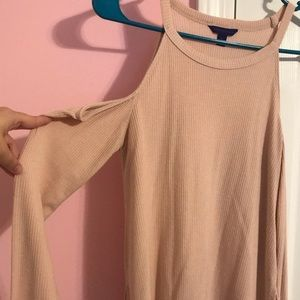 Aeropostale pink cold shoulder long sleeve top